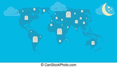 RIP. Hay tumbas en el mapa mundial. Ilustración de vectores.
