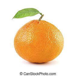 Ripe tangerine con hoja