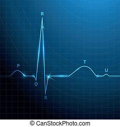 Ritmo cardíaco normal, diseño de fondo azul