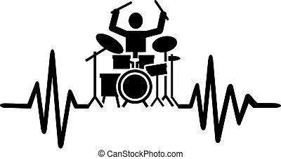 Ritmo de tambor con silueta de batería