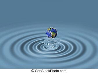 Rizos de agua azul y globo mundial