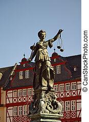 r?mer, fráncfort, justizia, estatua