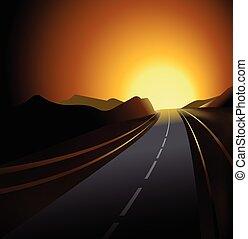 Road and Sunset vector fondo I