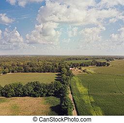 road., campo, vista., aéreo, campos, granja, suciedad