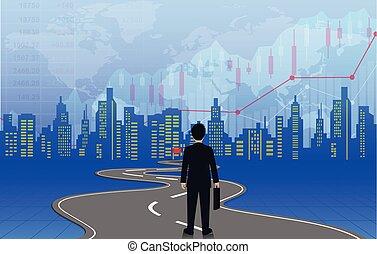 road., growth., finanzas, ir, ambulante, mapa, bobina, creativo, vector, organization., empresa / negocio, hombres de negocios, más alto, leadership., triunfe, destination., idea., mundo, blanco, ilustración