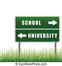 roadsign, escuela, university.