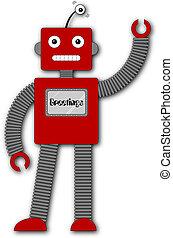 robi, retro, -, saludos, robot