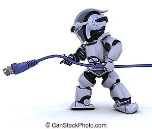 Robot con cable de la cadena RJ45