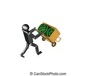 Robot con señal de correo