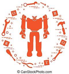 Robot, cubos, destornillador, llave, tornillo, martillo.