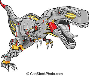 Robot cyborg dinosaurio de tyrannosaurus