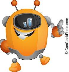 Robot de dibujos animados apuntando con un vector de ilustración de dedos en fondo blanco