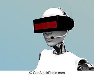 Robot femenino usando auriculares futuristas.