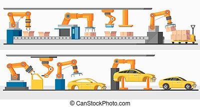 robot, horizontal, industrial, automatización, banderas