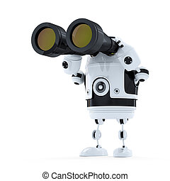 Robot mirando a través de los prismáticos