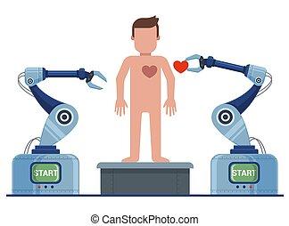 robot, restablece, conveyor., man., creación, hombre