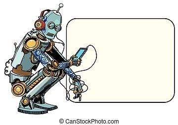 Robot se sienta con el teléfono