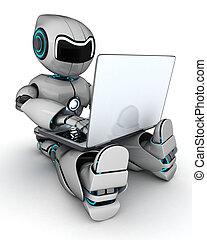 Robot trabajando en portátil