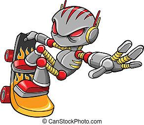 robot, vector, cyborg, skateboarder
