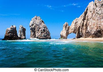 roca, punta, formación, lucas, san, méxico, cabo, peninsula., del, baja, arco.