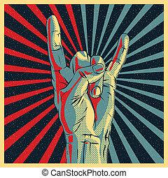 roca, señal de mano, rollo, n