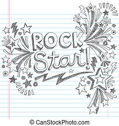roca, sketchy, garabato, música, estrella