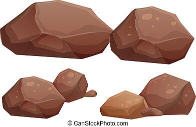 rocas, grande, pequeño