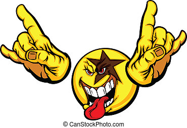 Rock Star dibujito cara emoticon