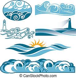 rodante, azul, mares