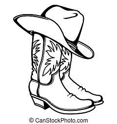 rodeo, mano, occidental, dibujado, hat., ilustración, botas, impresión, ropa, vector, gráfico, aislado, blanco, vaquero
