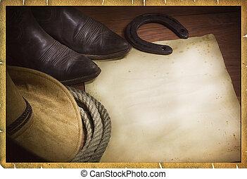 Rodeo vaquero con sombrero occidental y lazo