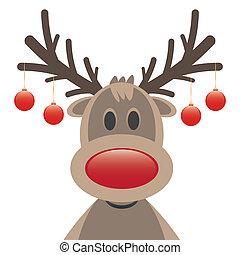 Rodolfo, nariz roja, bolas de Navidad