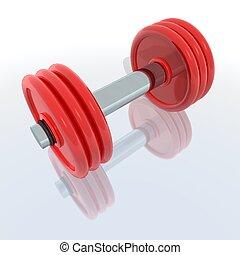 rojo, barra con pesas