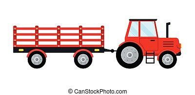 rojo blanco, tractor, icono, aislado, fondo., remolque