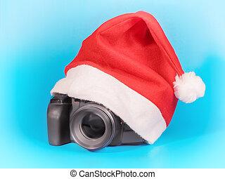 rojo, cámara, navidad, foto, sombrero, debajo