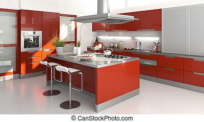 rojo, cocina