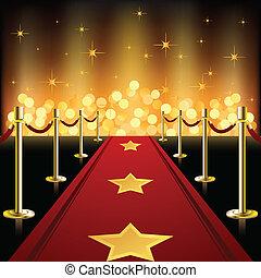 rojo, estrellas, alfombra