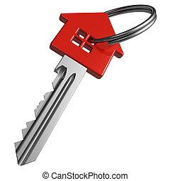 rojo, llave, house-shape