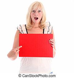rojo, mujer, excitado, señalar, señal