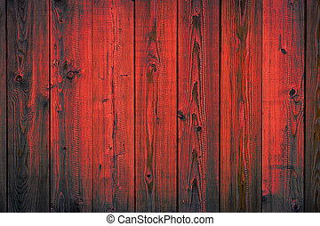 Rojo pintado de madera pelando tablones, fondo de textura