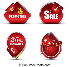 rojo, promoción, etiqueta