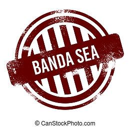 rojo, redondo, grunge, estampilla, -, botón, banda, mar