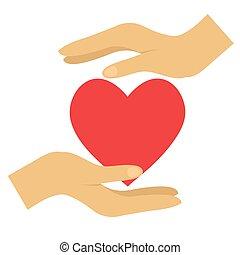 rojo, vector, ilustración, icono, plano, manos, corazón, blanco