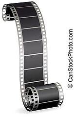Rollo de película torcido para foto o video en la ilustración del vector blanco