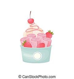 Rollos rosas de helado con crema batida en un tazón de cartón. Ilustración de vectores sobre fondo blanco.