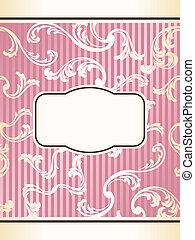 Romántica elegante etiqueta retro francesa en rosa