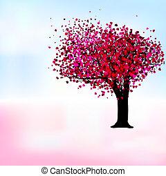 romántico, eps, árbol, pasión, plantilla, 8, card.