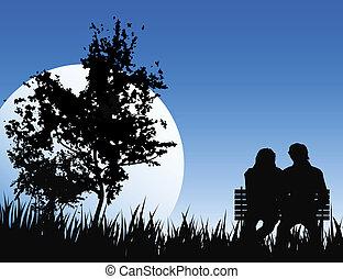 romántico, noche