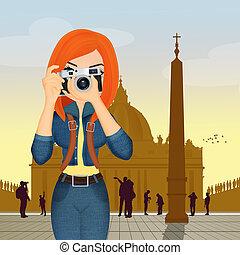 roma, niña, turista
