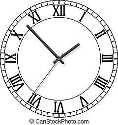 romano, esfera, números, reloj